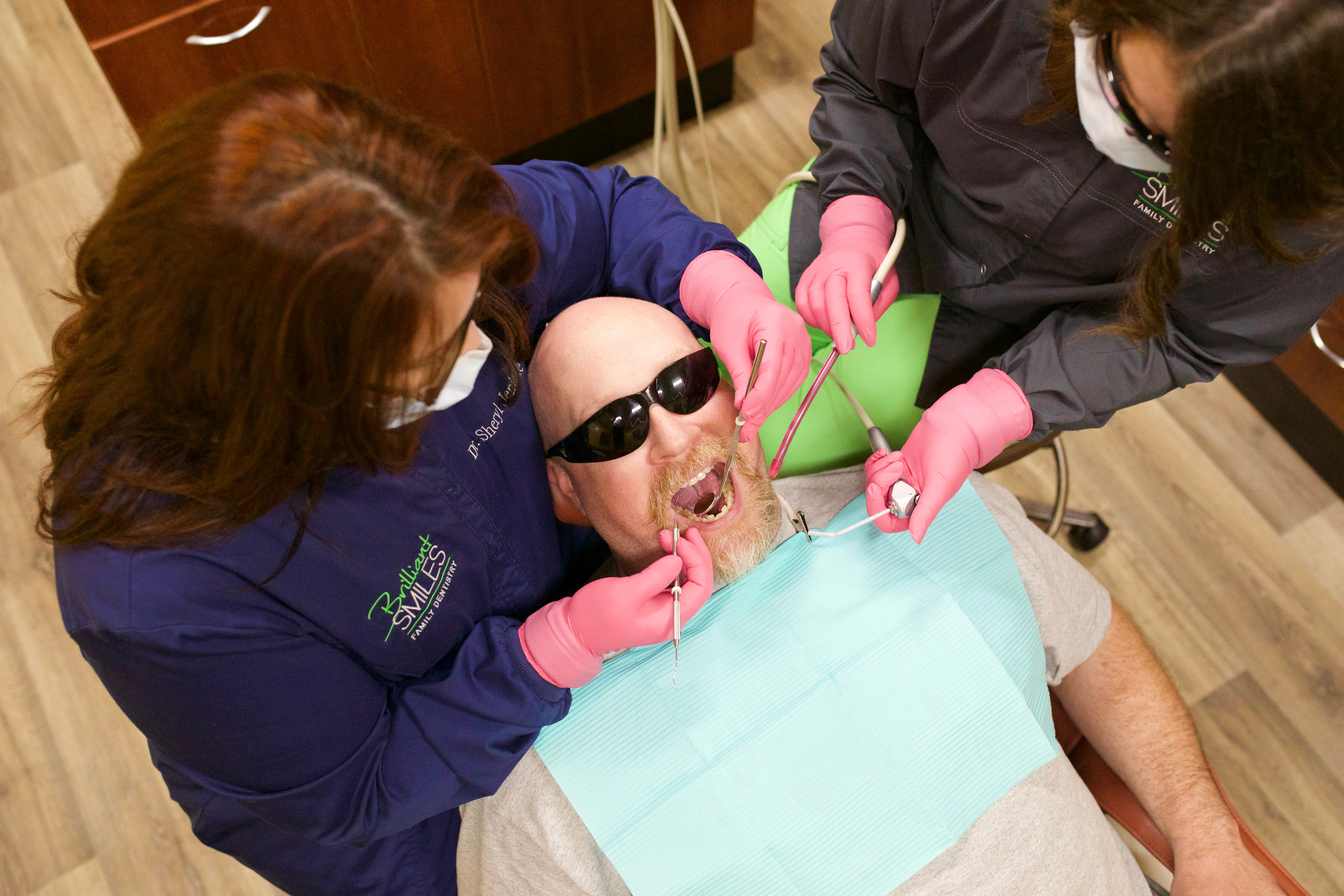 A relaxed patient enjoying the gentle dentistry that Brilliant Smiles provides.